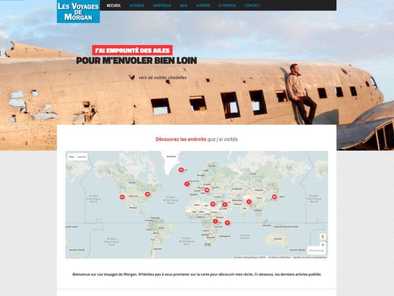 Haut de page de l'accueil de lesvoyagesdemorgan.fr